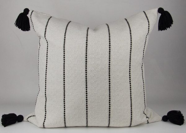 Cream & Black Striped Pillow with Black Tassels front