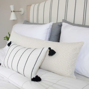 Cream & Black Striped Tassels and White/Cream Chevron Long Lumbar Pillows