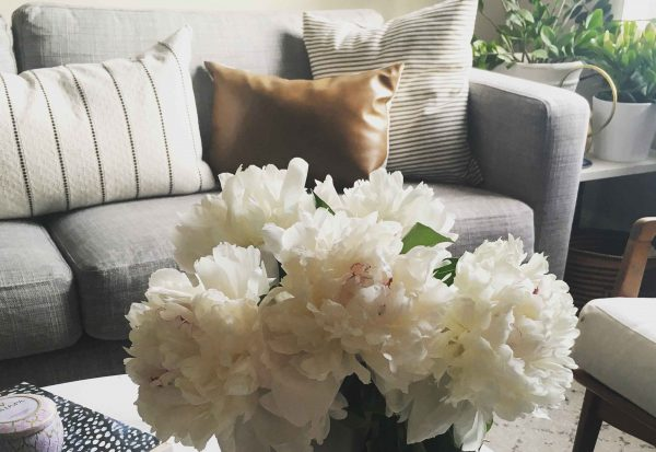 Peonies with Striped & Vegan Leather Pillows