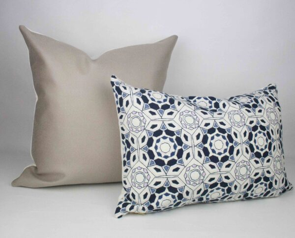 Greige Faux Suede Pillow with Navy Geometric Pillow