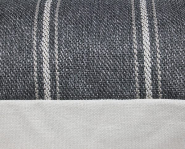 Grey Woven Striped Textured Pillow fabric detail
