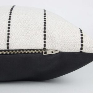 Cream & Black Striped Long Lumbar w Black Back