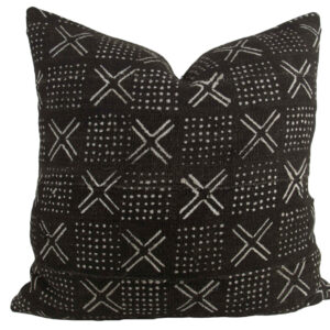 Black Mudcloth Pillow Cover 21""