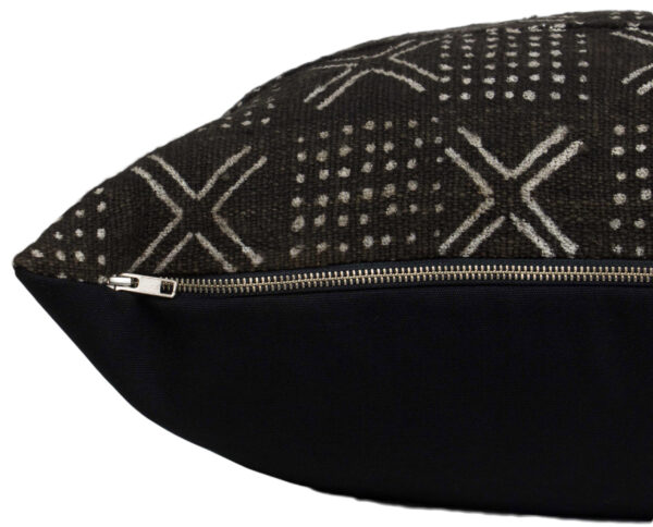 "Black Mudcloth Pillow Cover 21"" zipper detail"