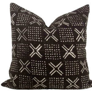 Black Mudcloth Pillow Cover 19""