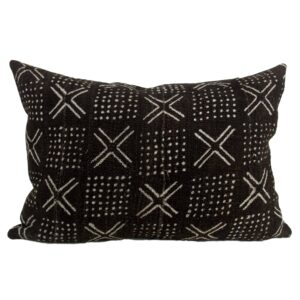 Black Mudcloth Pillow Cover 13x19""