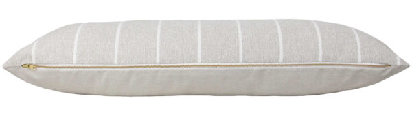 Sand & White Striped Long Lumbar Pillow Cover zipper
