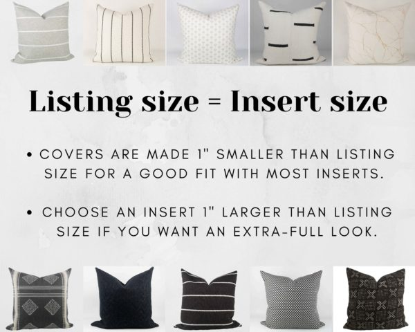 Match Pillow Insert to Listing Size