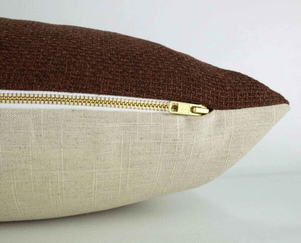 Clay Woven Long Lumbar Pillow zipper detail