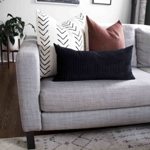 Clay Woven Pillow with Black Channel & White Arrows Mudcloth