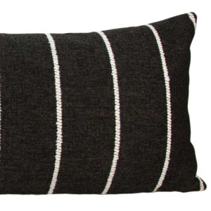Black & White Rustic Stripe Long Lumbar Pillow