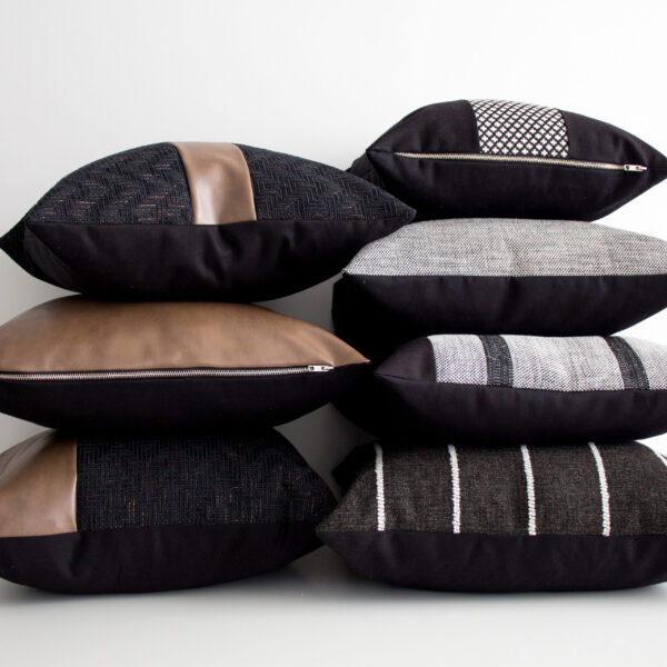 Black & Caramel Leather Colour Blocking Pillows