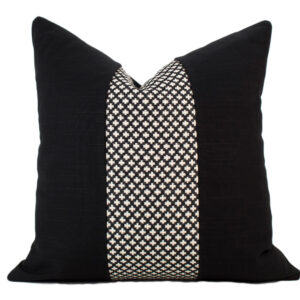 Black & White Swiss Cross Pillow Cover with Linen Accent