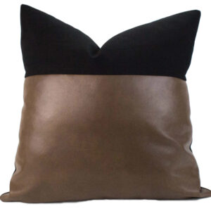 Black Linen & Caramel Vegan Leather Pillow 20""