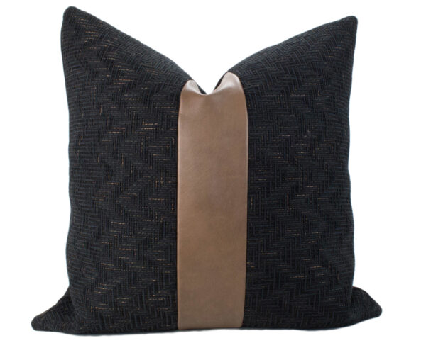 Black Textured & Caramel Vegan Leather Pillow
