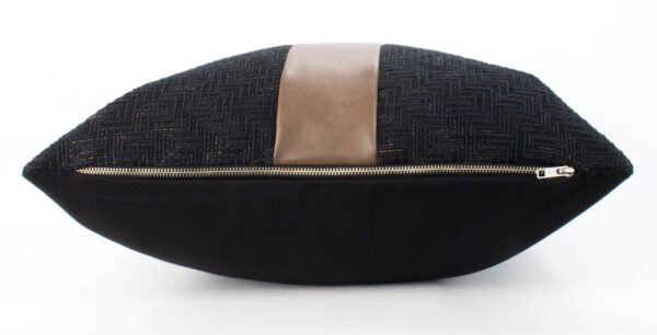 Black Textured & Caramel Vegan Leather Pillow zipper