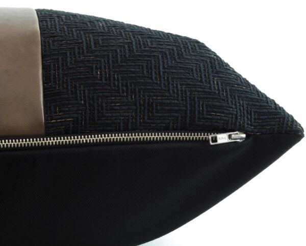 Black Textured & Caramel Vegan Leather Pillow zipper detail